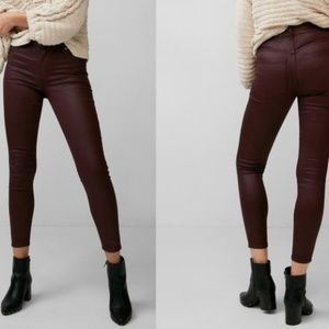 High Waisted Coated Stretch Ankle Jean Leggings